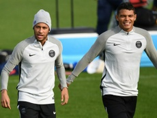 Thiago Silva is happy that Neymar is continuing at PSG. AFP