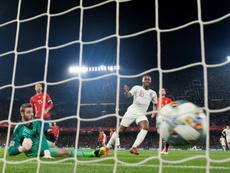 Raheem Sterling scored England's third first-half goal in Seville. AFP