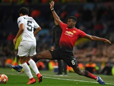 The tackle on Marquinhos saw Pogba sent off for a second bookable offence. AFP