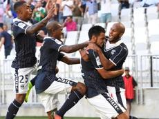 La joie des Bordelais après le but de Gaëtan Laborde contre Saint-Etienne, le 13 août 2016. AFP