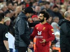 Salah elogió a Klopp, en su tercer aniversario como 'red'. AFP/Archivo