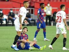 A tensão entre Messi e o Barça. AFP