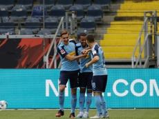 Pléa et Marcus Thuram, de nouveau titulaires avec Mönchengladbach. AFP