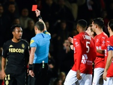 Gelson Martins pushed the referee twice in Monaco's loss to Nimes. AFP