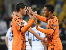 Morata hizo un doblete ante el Dinamo de Kiev. AFP
