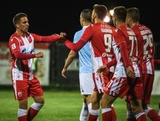 Les joueurs de l'Etoile Rouge lors de la reprise du championnat de Serbie. AFP