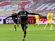Moussa Diaby a joué un grand match contre Dortmund. AFP