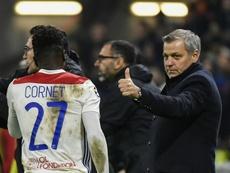 Bruno Génésio s'est confié pour le match Lyon-Barcelone. AFP