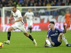 Tras despuntar en el Sevilla, a Calero no le ha ido bien en el Espanyol. AFP