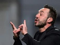 De Zerbi tiene al Sassuolo invicto en la Serie A tras ocho jornadas. AFP