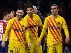 El tridente del Barça solo ha coincidido el 33,5% en Primera. AFP