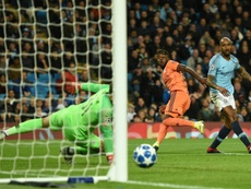 Cornet opens the scoring for Lyon at the Etihad Stadium. AFP