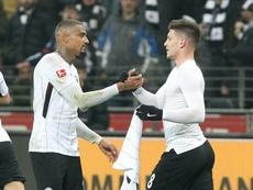 Jovic a déjà joué avec Boateng à l'Eintracht. AFP