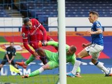 Pickford, suplente en el Everton. AFP