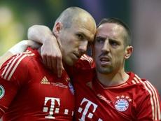 La emotiva despedida de Robben y Ribéry. AFP