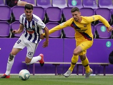 El Barça se quedó sin casi suplentes en Zorrilla. AFP