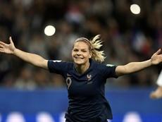 Le Sommer devient la meilleure buteur de l'histoire des Bleues. AFP
