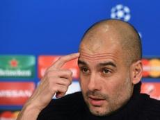 L'entraîneur du Bayern Pep Guardiola en conférence de presse, le 15 mars 2016 à Munich. AFP