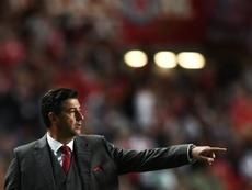 O técnico do Benfica com o discurso que já lhe conhecemos. AFP