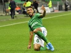 Denis Bouanga dio el triunfo al Saint-Étienne. AFP