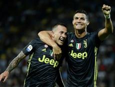 Cristiano Ronaldo ne s'arrête plus de marquer. AFP