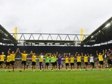 Cartão de visita cinco estrelas do Borussia Dortmund. AFP
