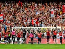 Festejos dos jogadores do Lille, após goleada sobre o Nantes. AFP