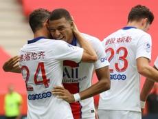 Kylian Mbappé marcou um dos três gols do PSG. AFP
