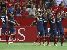 Koke celebra un tanto con el Atlético de Madrid en Sevilla. EFE
