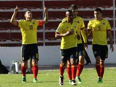 James Rodríguez célèbre un but contre la Bolivie à la Paz. EFE