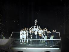 El Madrid celebró de una tacada dos Copas de Europa a la vez. EFE