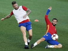 Ramos y Nacho ocupan el eje de la zaga de 'la Roja' de Luis Enrique. EFE/Archivo