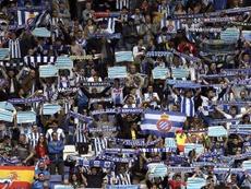 Miembros de la curva organizaron una protesta en la previa del duelo ante el Athletic. EFE/Archivo