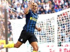 Joao Mario celebrating a goal for Inter against Cagliari. EFE/EPA