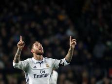 Sergio Ramos comemora o gol ante o Barcelona.