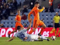 Medrán no juega con el Valencia desde agosto de 2017. EFE