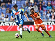 Le joueur d'Eibar, Fran Rico à la lutte contre Gerard, de l'Espanyol pendant un match de Liga. EFE