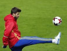 Le défenseur de la sélection espagnole et du FC Barcelone, Gerard Piqué, lors d'un entraînement. EFE