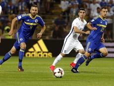A Grécia ainda está na luta por um lugar no Mundial2018. EFE/EPA/FEHIM DEMIR