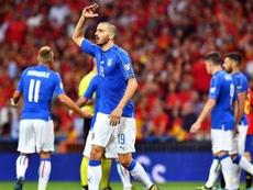 Bonucci répond aux sifflets lors du match de l'Italie. EFE