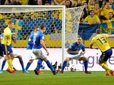 Jakob Johansson es la cruz de la clasificación sueca para Rusia 2018. AFP/Archivo