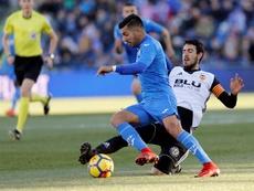 Ángel no vio polémicas en el tanto que le marcó al club hispalense. EFE