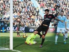 O Milan bateu o SPAL 2013 por 0-4. AFP