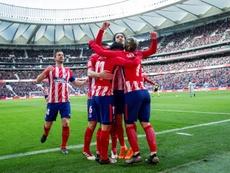 Os jogadores do Atlético celebram um dos gols apontados ao Celta. EFE