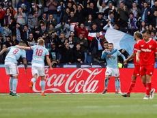 Aspas marque un 'hat trick' face à Séville et égale sa meilleure performance sur une saison. EFE