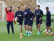 Último treino antes de receber o Real Madrid. EFE