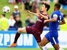 El venezolano marcó su primer gol con el Barcelona. EFE