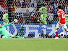 El delantero falló su lanzamiento frente a Croacia. EFE