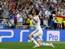 Isco inauguró el marcador en la visita de la Roma al Bernabéu. EFE
