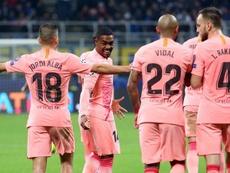 El Barça estrenó su tercera equipación. EFE